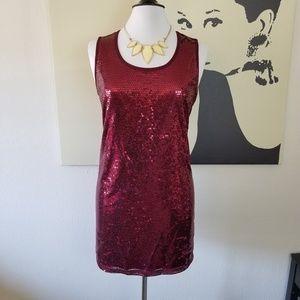 Burgundy Sequin Dress or Long Blouse L